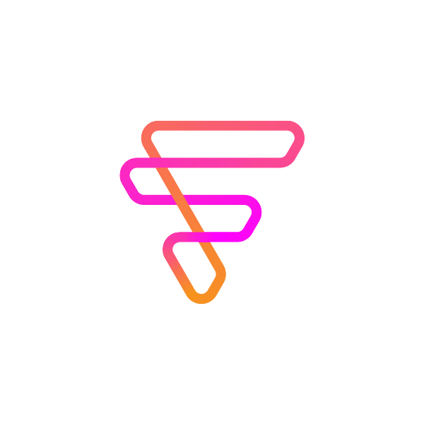 Colorful F logo based on triangle