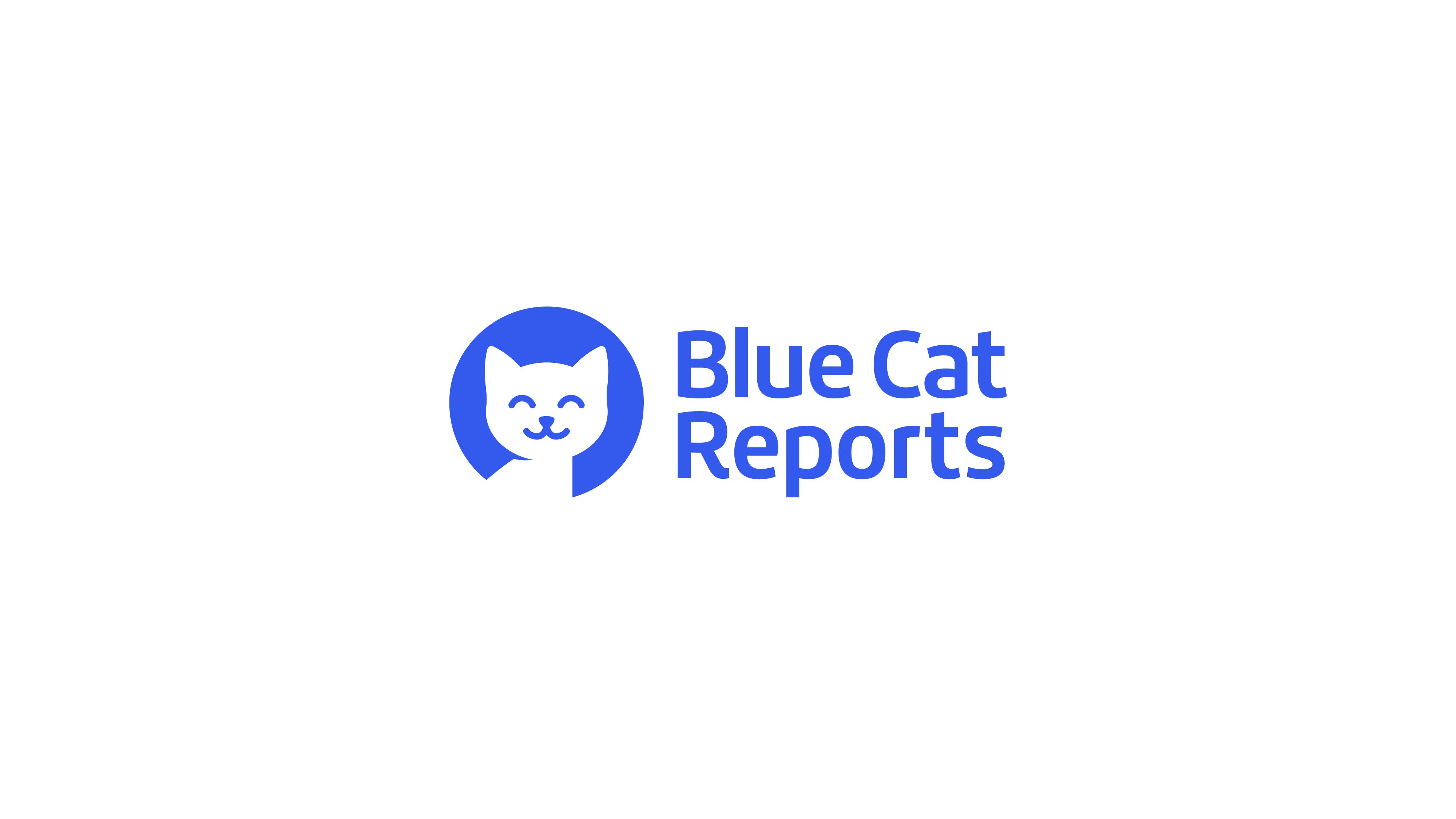cute smiling blue cat logo for trello report extension